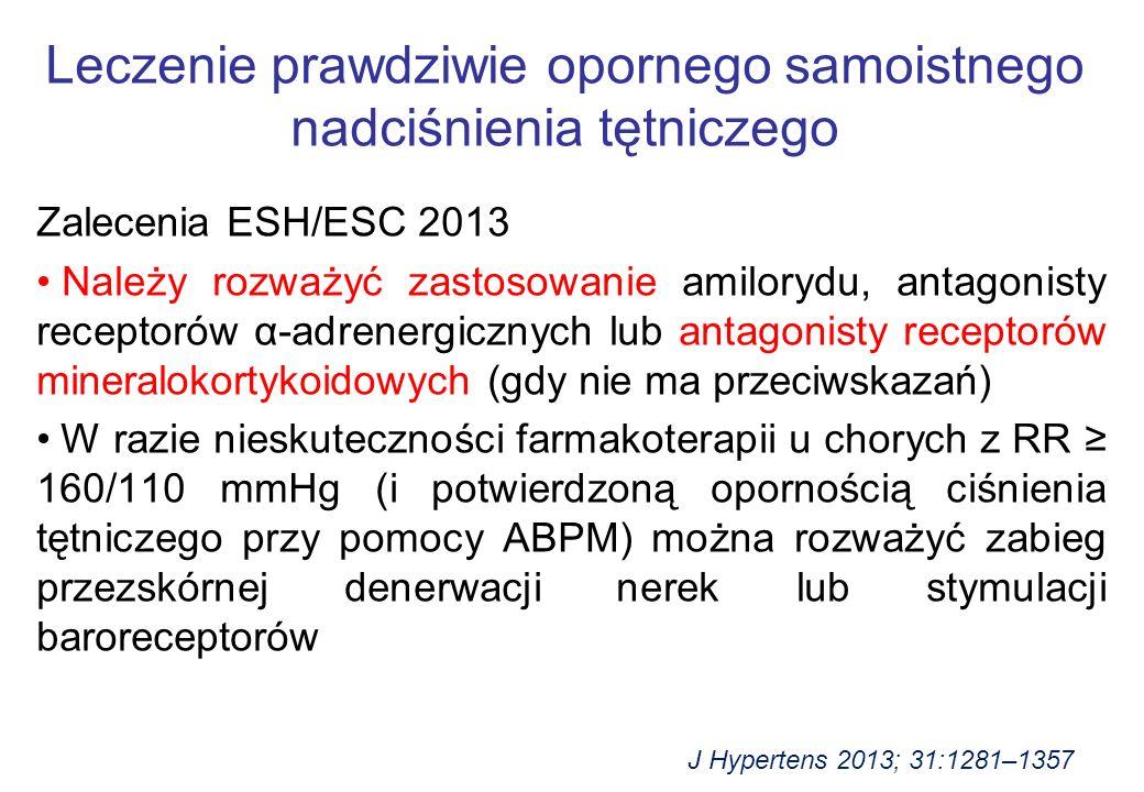 Zalecenia ESH/ESC 2013 Należy rozważyć zastosowanie amilorydu, antagonisty receptorów α-adrenergicznych lub antagonisty receptorów mineralokortykoidowych (gdy nie ma przeciwskazań) W razie nieskuteczności farmakoterapii u chorych z RR ≥ 160/110 mmHg (i potwierdzoną opornością ciśnienia tętniczego przy pomocy ABPM) można rozważyć zabieg przezskórnej denerwacji nerek lub stymulacji baroreceptorów Leczenie prawdziwie opornego samoistnego nadciśnienia tętniczego J Hypertens 2013; 31:1281–1357