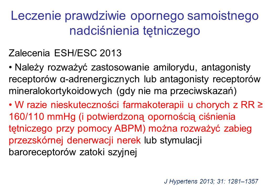 Zalecenia ESH/ESC 2013 Należy rozważyć zastosowanie amilorydu, antagonisty receptorów α-adrenergicznych lub antagonisty receptorów mineralokortykoidowych (gdy nie ma przeciwskazań) W razie nieskuteczności farmakoterapii u chorych z RR ≥ 160/110 mmHg (i potwierdzoną opornością ciśnienia tętniczego przy pomocy ABPM) można rozważyć zabieg przezskórnej denerwacji nerek lub stymulacji baroreceptorów zatoki szyjnej Leczenie prawdziwie opornego samoistnego nadciśnienia tętniczego J Hypertens 2013; 31: 1281–1357