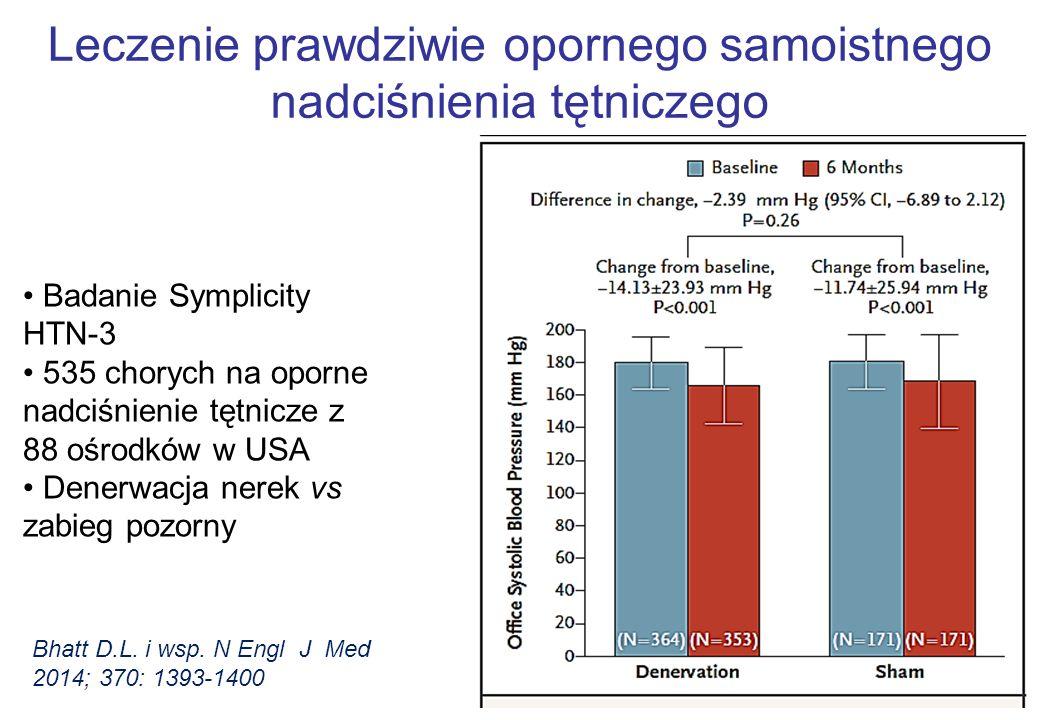 Leczenie prawdziwie opornego samoistnego nadciśnienia tętniczego Badanie Symplicity HTN-3 535 chorych na oporne nadciśnienie tętnicze z 88 ośrodków w