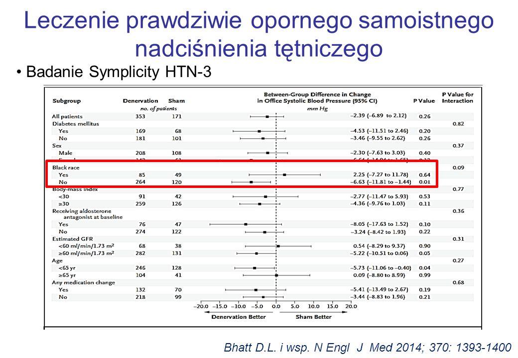 Badanie Symplicity HTN-3 Bhatt D.L. i wsp. N Engl J Med 2014; 370: 1393-1400