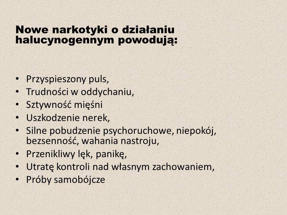 Nowe narkotyki o działaniu halucynogennym powodują: Przyspieszony puls, Trudności w oddychaniu, Sztywność mięśni Uszkodzenie nerek, Silne pobudzenie psychoruchowe, niepokój, bezsenność, wahania nastroju, Przenikliwy lęk, panikę, Utratę kontroli nad własnym zachowaniem, Próby samobójcze