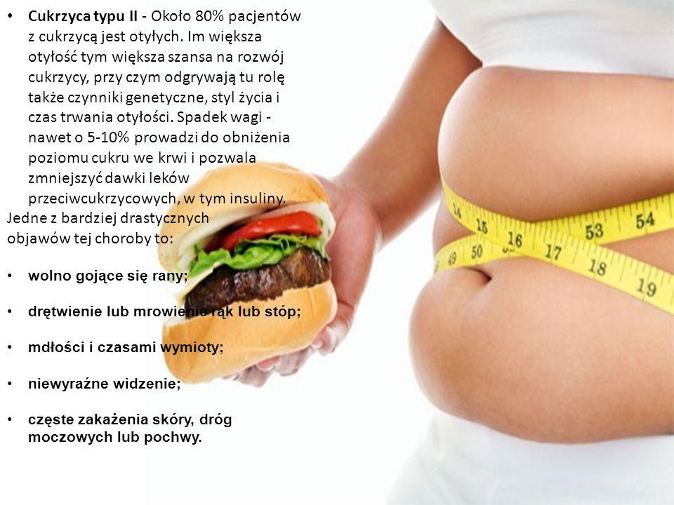 Cukrzyca typu II - Około 80% pacjentów z cukrzycą jest otyłych.