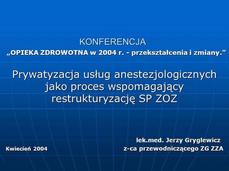 """""""OPIEKA ZDROWOTNA w 2004 r.- przekształcenia i zmiany. """"OPIEKA ZDROWOTNA w 2004 r."""