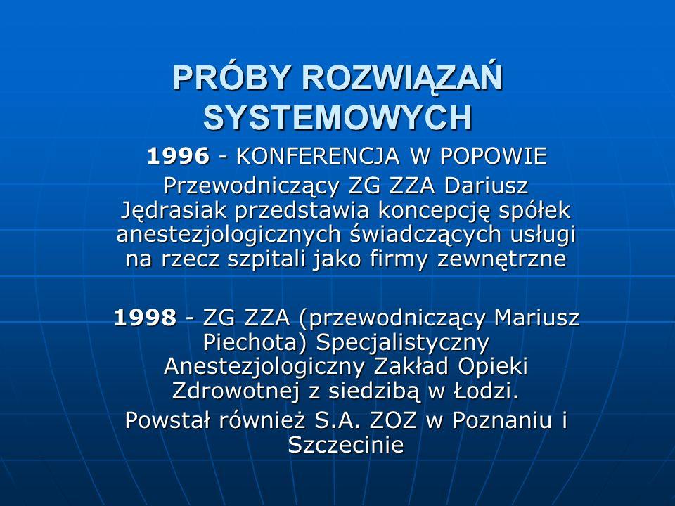 PRÓBY ROZWIĄZAŃ SYSTEMOWYCH 1996 - KONFERENCJA W POPOWIE Przewodniczący ZG ZZA Dariusz Jędrasiak przedstawia koncepcję spółek anestezjologicznych świadczących usługi na rzecz szpitali jako firmy zewnętrzne 1998 - ZG ZZA (przewodniczący Mariusz Piechota) Specjalistyczny Anestezjologiczny Zakład Opieki Zdrowotnej z siedzibą w Łodzi.