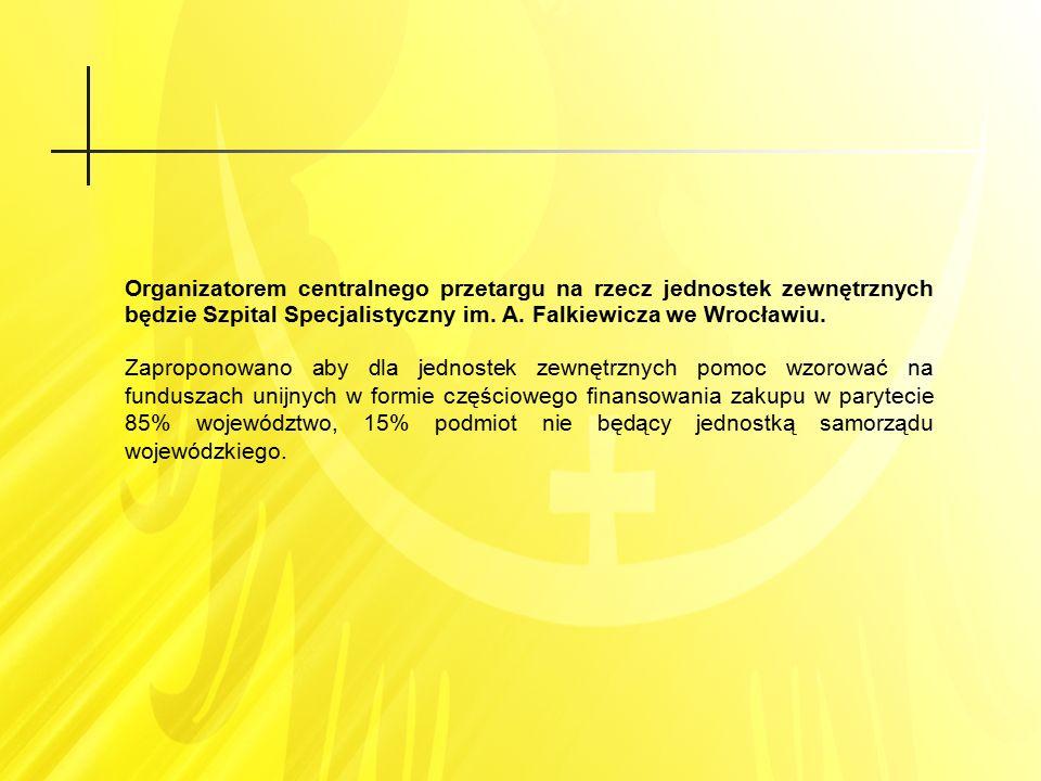 Organizatorem centralnego przetargu na rzecz jednostek zewnętrznych będzie Szpital Specjalistyczny im. A. Falkiewicza we Wrocławiu. Zaproponowano aby