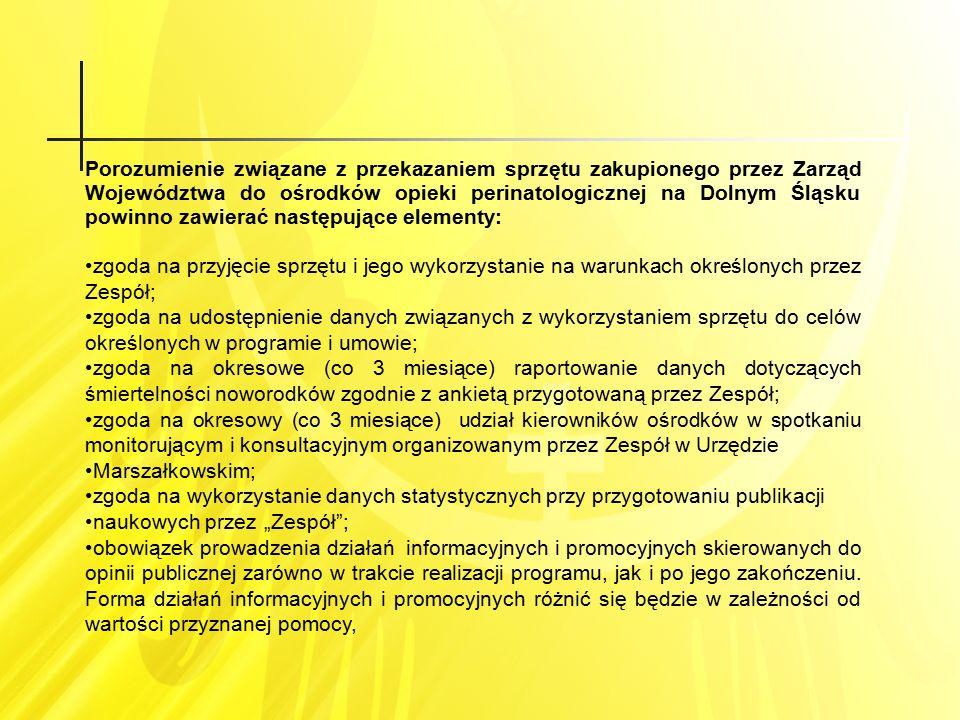 Porozumienie związane z przekazaniem sprzętu zakupionego przez Zarząd Województwa do ośrodków opieki perinatologicznej na Dolnym Śląsku powinno zawier