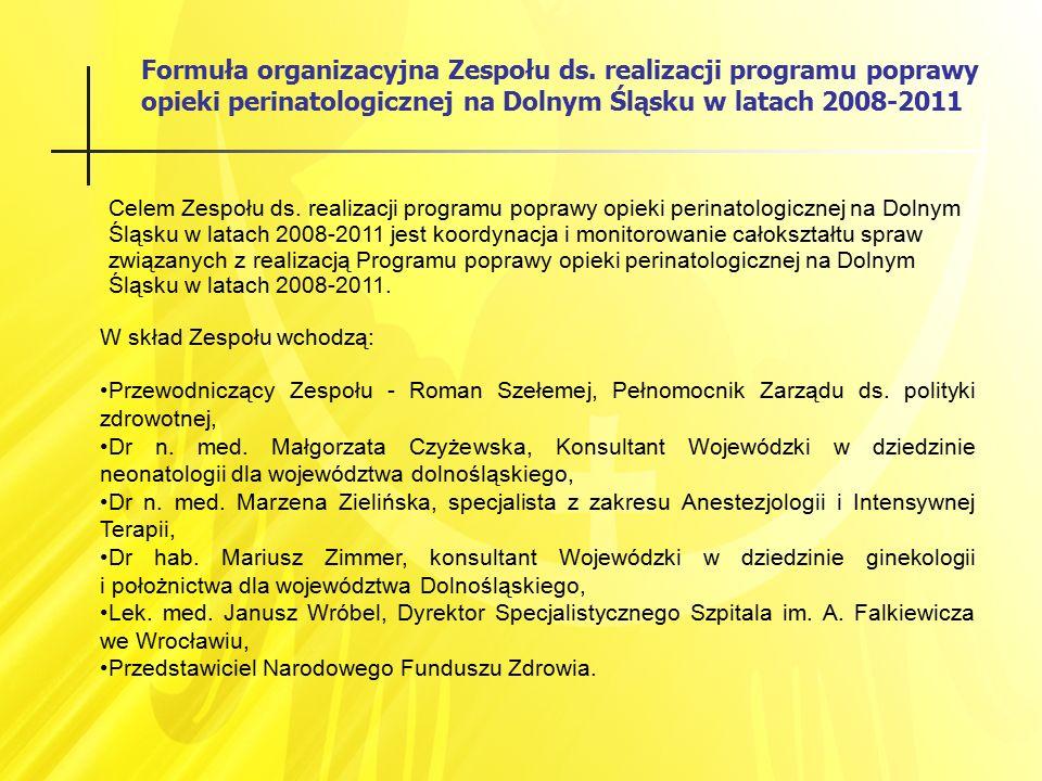 Formuła organizacyjna Zespołu ds. realizacji programu poprawy opieki perinatologicznej na Dolnym Śląsku w latach 2008-2011 Celem Zespołu ds. realizacj