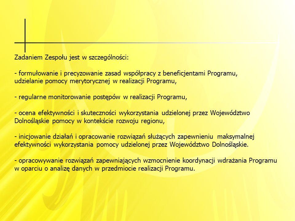 Zadaniem Zespołu jest w szczególności: - formułowanie i precyzowanie zasad współpracy z beneficjentami Programu, udzielanie pomocy merytorycznej w rea