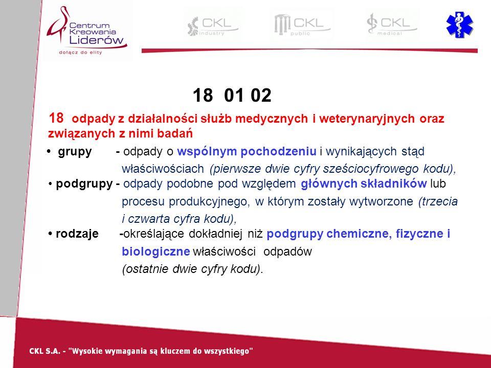 18 01 02 18 odpady z działalności służb medycznych i weterynaryjnych oraz związanych z nimi badań grupy - odpady o wspólnym pochodzeniu i wynikających