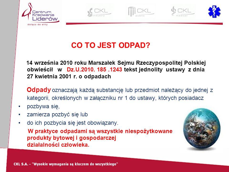 CO TO JEST ODPAD? 14 września 2010 roku Marszałek Sejmu Rzeczypospolitej Polskiej obwieścił w Dz.U.2010. 185.1243 tekst jednolity ustawy z dnia 27 kwi