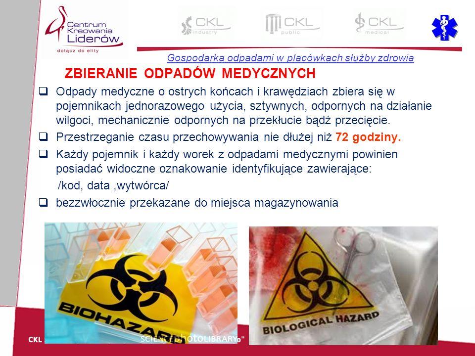 Gospodarka odpadami w placówkach służby zdrowia ZBIERANIE ODPADÓW MEDYCZNYCH  Odpady medyczne o ostrych końcach i krawędziach zbiera się w pojemnikac
