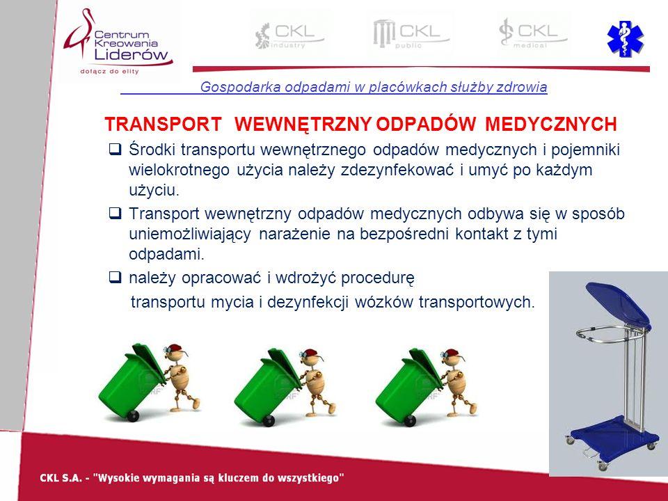 Gospodarka odpadami w placówkach służby zdrowia TRANSPORT WEWNĘTRZNY ODPADÓW MEDYCZNYCH  Środki transportu wewnętrznego odpadów medycznych i pojemnik