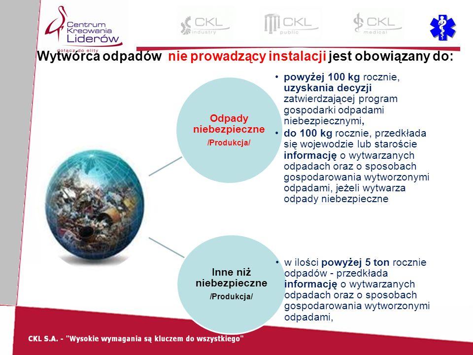 Wytwórca odpadów nie prowadzący instalacji jest obowiązany do: Odpady niebezpieczne /Produkcja/ powyżej 100 kg rocznie, uzyskania decyzji zatwierdzającej program gospodarki odpadami niebezpiecznymi, do 100 kg rocznie, przedkłada się wojewodzie lub staroście informację o wytwarzanych odpadach oraz o sposobach gospodarowania wytworzonymi odpadami, jeżeli wytwarza odpady niebezpieczne Inne niż niebezpieczne /Produkcja/ w ilości powyżej 5 ton rocznie odpadów - przedkłada informację o wytwarzanych odpadach oraz o sposobach gospodarowania wytworzonymi odpadami,