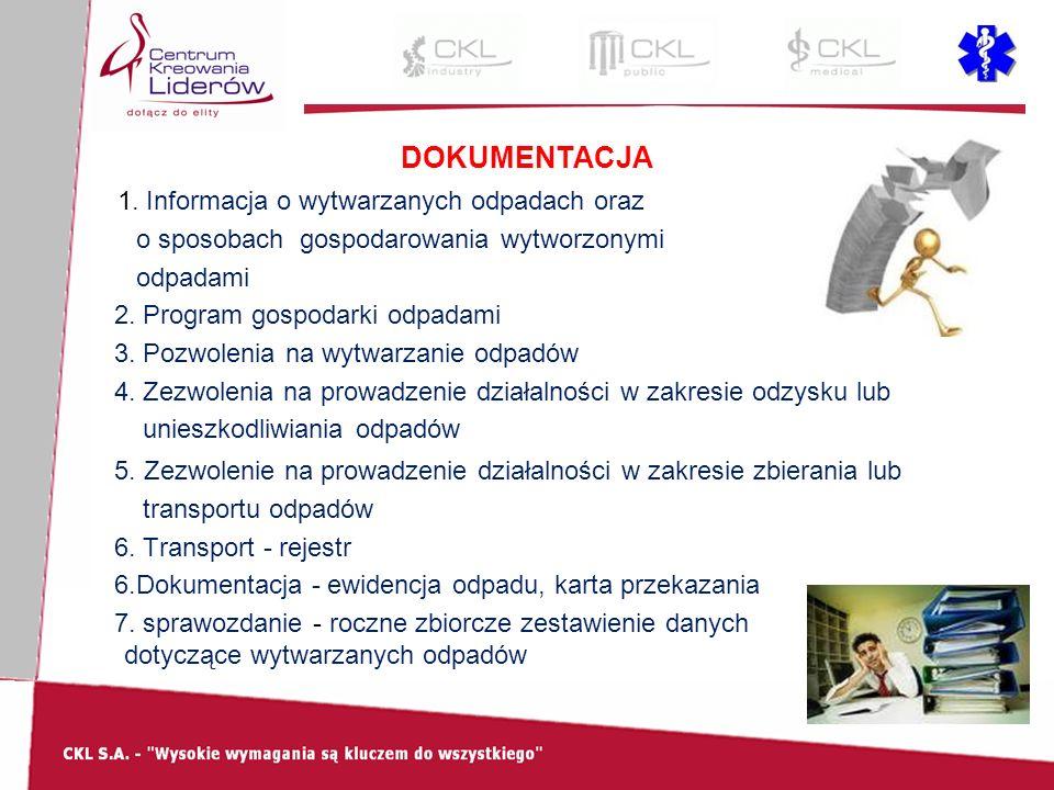 DOKUMENTACJA 1. Informacja o wytwarzanych odpadach oraz o sposobach gospodarowania wytworzonymi odpadami 2. Program gospodarki odpadami 3. Pozwolenia