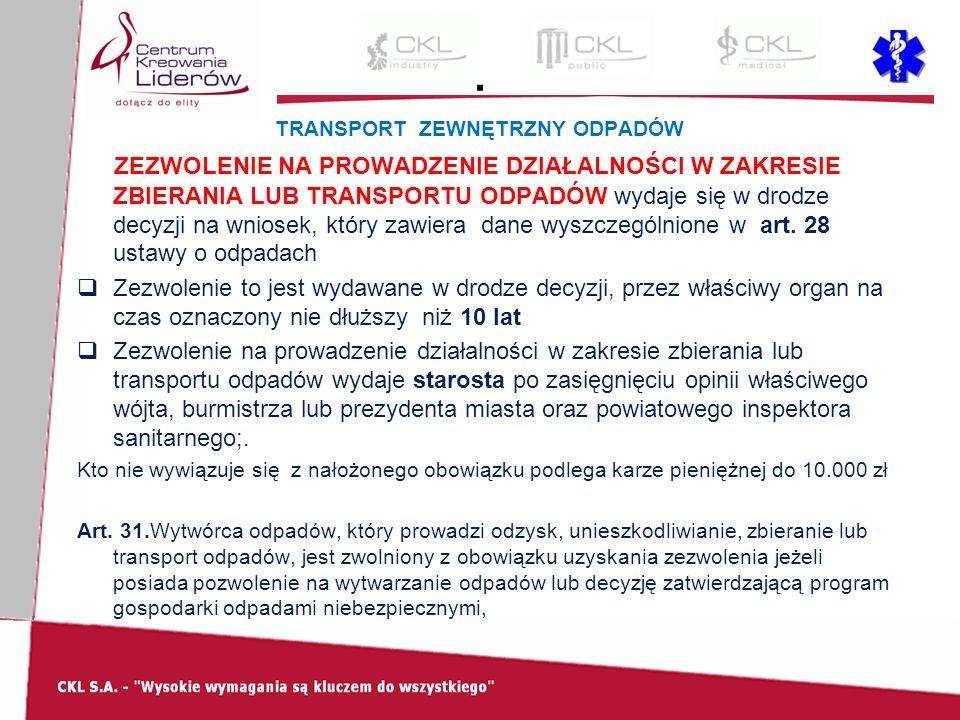 . TRANSPORT ZEWNĘTRZNY ODPADÓW ZEZWOLENIE NA PROWADZENIE DZIAŁALNOŚCI W ZAKRESIE ZBIERANIA LUB TRANSPORTU ODPADÓW wydaje się w drodze decyzji na wnios