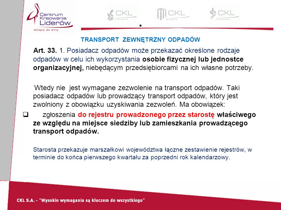 TRANSPORT ZEWNĘTRZNY ODPADÓW Art. 33. 1.