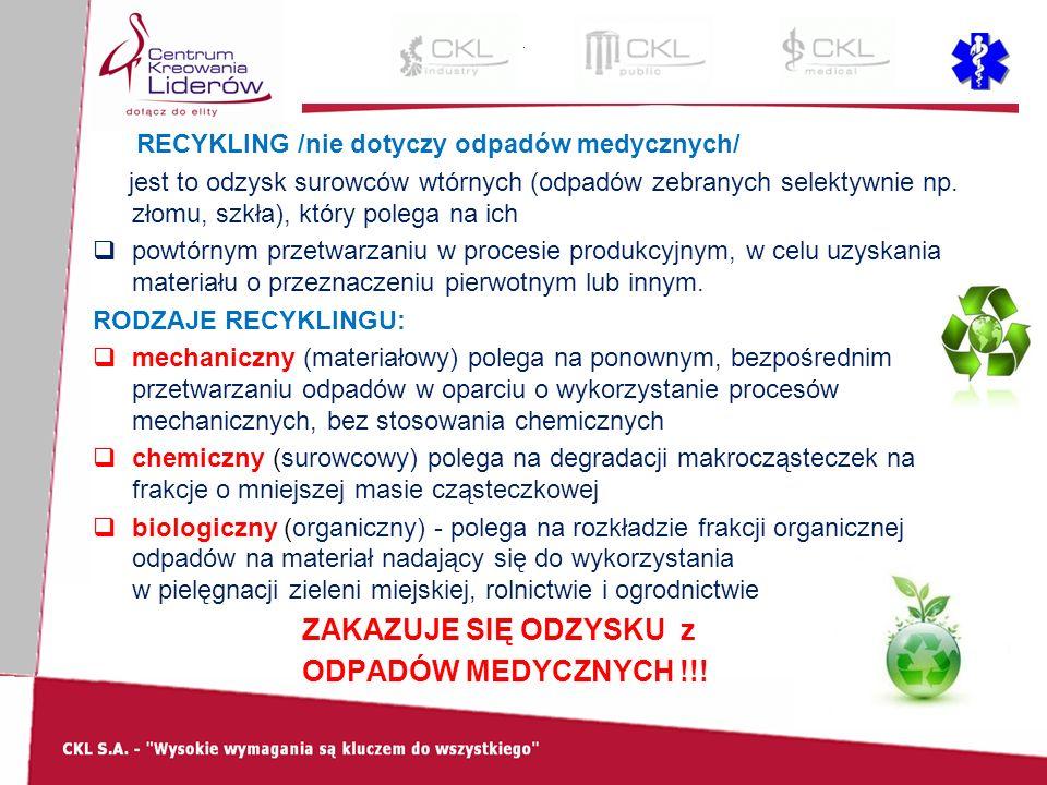 RECYKLING /nie dotyczy odpadów medycznych/ jest to odzysk surowców wtórnych (odpadów zebranych selektywnie np.