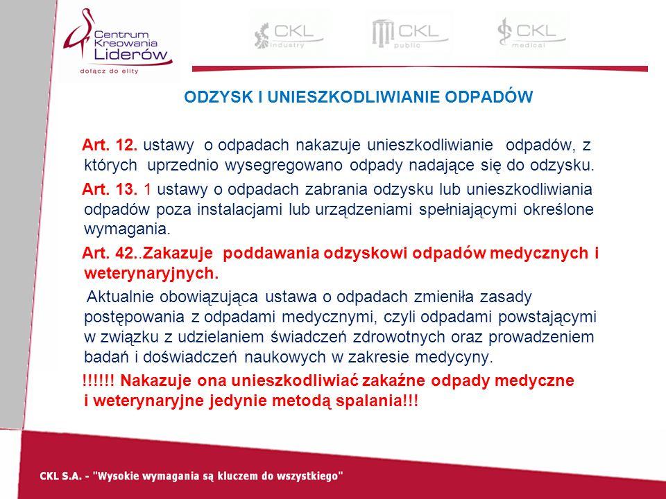 ODZYSK I UNIESZKODLIWIANIE ODPADÓW Art. 12.