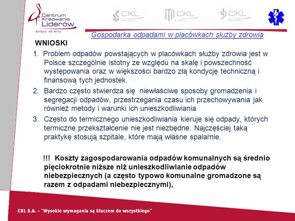 Gospodarka odpadami w placówkach służby zdrowia WNIOSKI 1. Problem odpadów powstających w placówkach służby zdrowia jest w Polsce szczególnie istotny