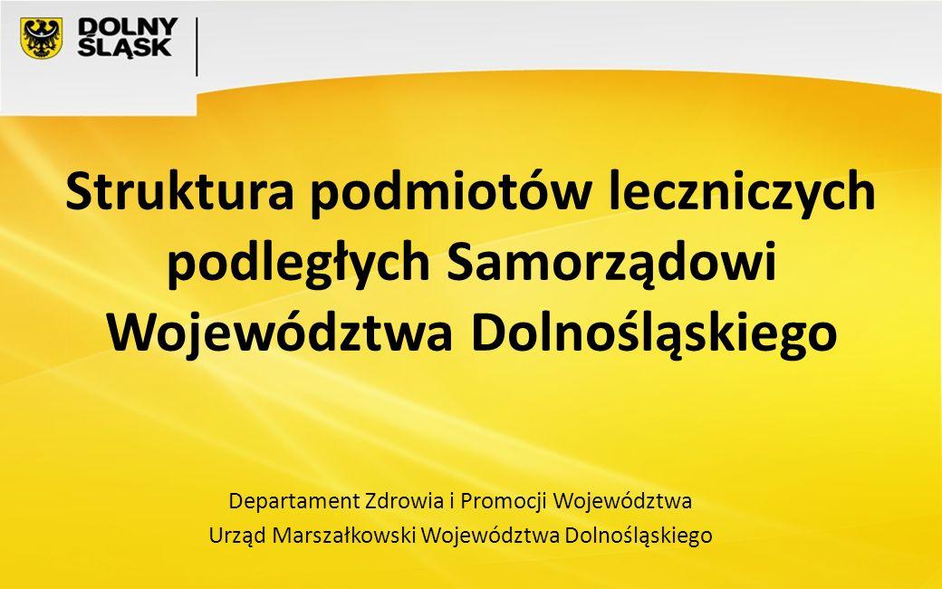 Struktura podmiotów leczniczych podległych Samorządowi Województwa Dolnośląskiego Departament Zdrowia i Promocji Województwa Urząd Marszałkowski Wojew