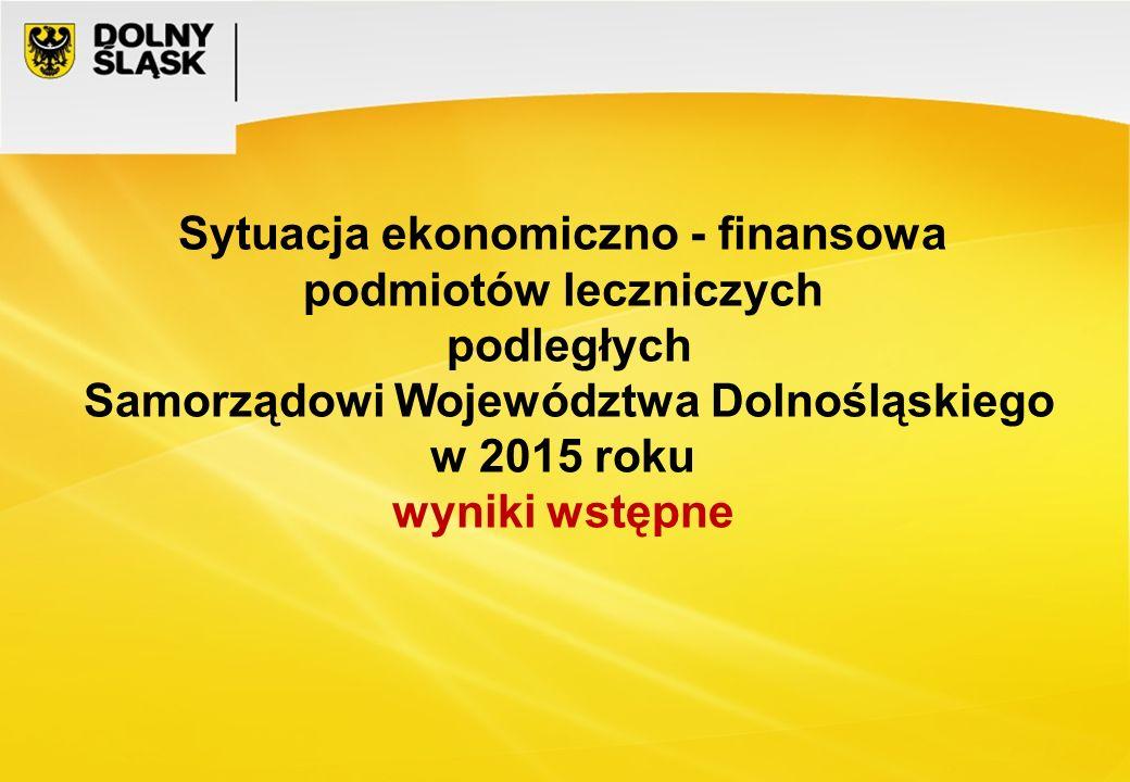 Sytuacja ekonomiczno - finansowa podmiotów leczniczych podległych Samorządowi Województwa Dolnośląskiego w 2015 roku wyniki wstępne