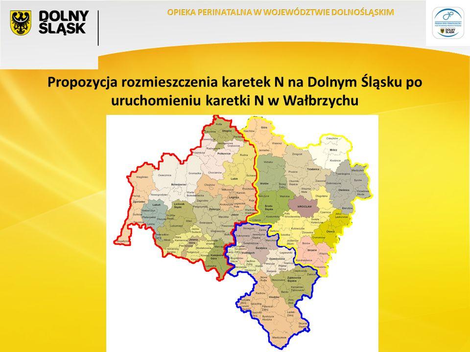Propozycja rozmieszczenia karetek N na Dolnym Śląsku po uruchomieniu karetki N w Wałbrzychu