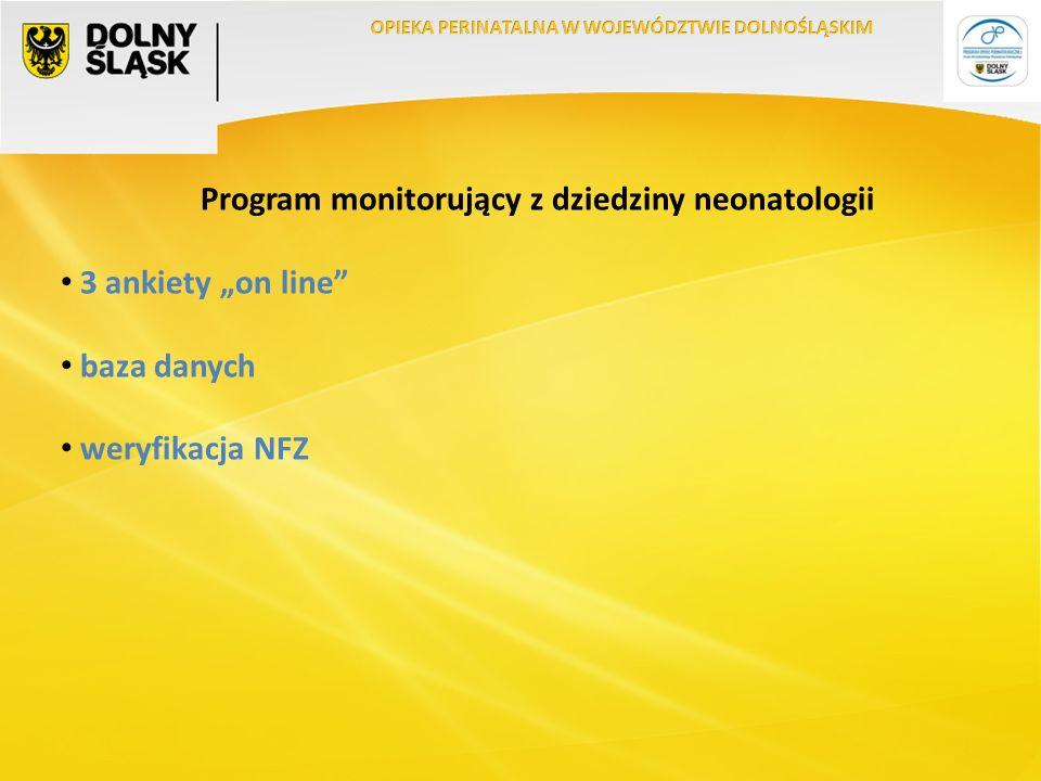 """Program monitorujący z dziedziny neonatologii 3 ankiety """"on line baza danych weryfikacja NFZ"""