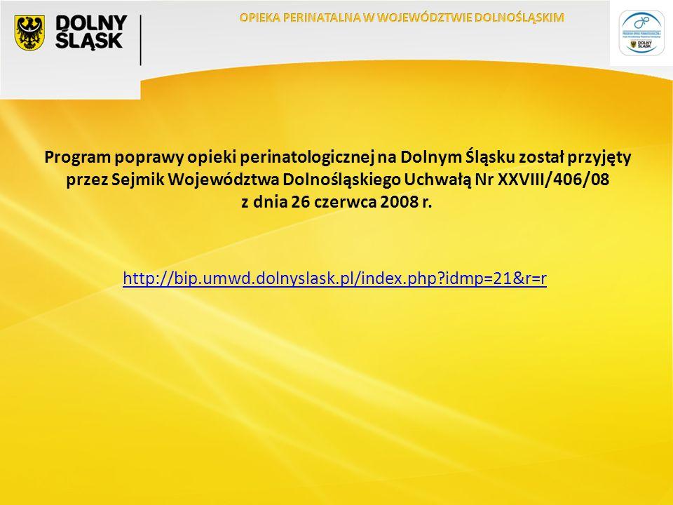 Program poprawy opieki perinatologicznej na Dolnym Śląsku został przyjęty przez Sejmik Województwa Dolnośląskiego Uchwałą Nr XXVIII/406/08 z dnia 26 czerwca 2008 r.