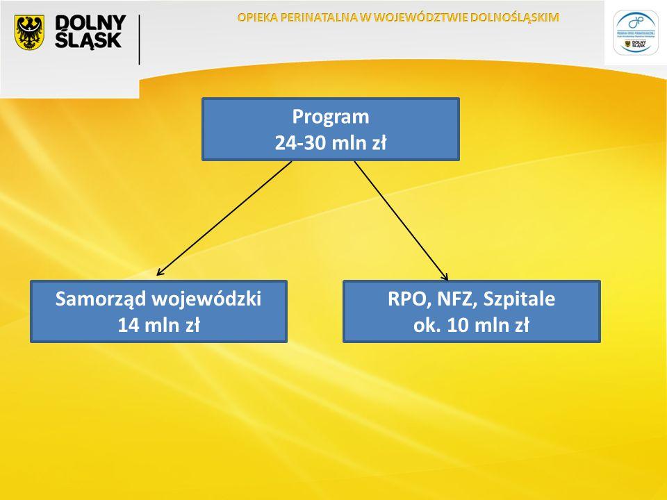 Program 24-30 mln zł Samorząd wojewódzki 14 mln zł RPO, NFZ, Szpitale ok. 10 mln zł