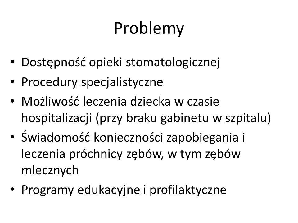 Problemy Dostępność opieki stomatologicznej Procedury specjalistyczne Możliwość leczenia dziecka w czasie hospitalizacji (przy braku gabinetu w szpitalu) Świadomość konieczności zapobiegania i leczenia próchnicy zębów, w tym zębów mlecznych Programy edukacyjne i profilaktyczne