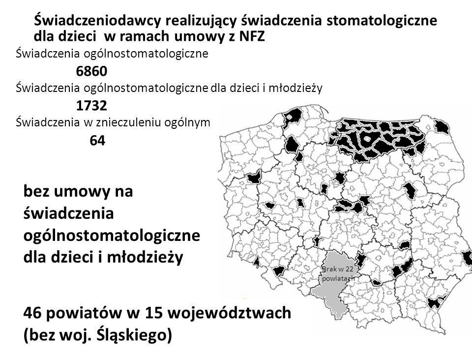 46 powiatów w 15 województwach (bez woj.