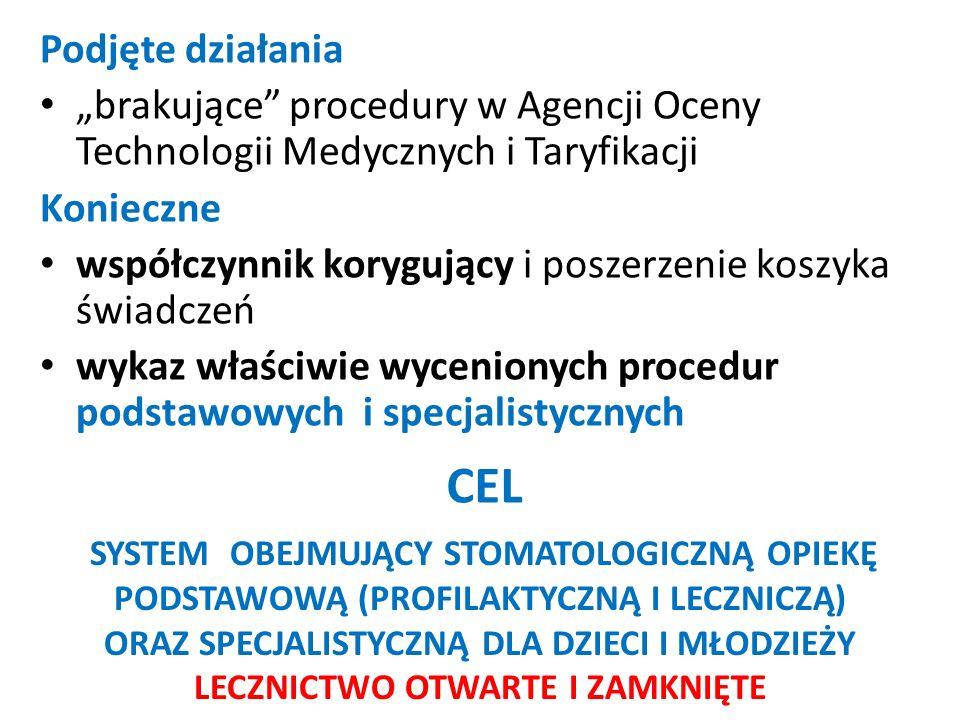 """CEL Podjęte działania """"brakujące procedury w Agencji Oceny Technologii Medycznych i Taryfikacji Konieczne współczynnik korygujący i poszerzenie koszyka świadczeń wykaz właściwie wycenionych procedur podstawowych i specjalistycznych SYSTEM OBEJMUJĄCY STOMATOLOGICZNĄ OPIEKĘ PODSTAWOWĄ (PROFILAKTYCZNĄ I LECZNICZĄ) ORAZ SPECJALISTYCZNĄ DLA DZIECI I MŁODZIEŻY LECZNICTWO OTWARTE I ZAMKNIĘTE"""