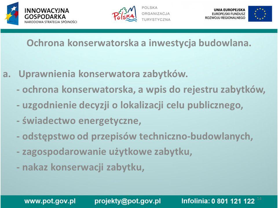 Ochrona konserwatorska a inwestycja budowlana. a.Uprawnienia konserwatora zabytków.