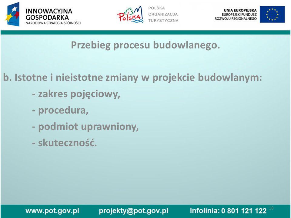 Przebieg procesu budowlanego. b.
