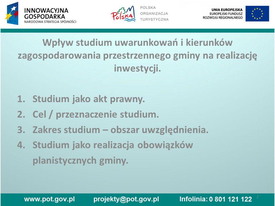 Wpływ studium uwarunkowań i kierunków zagospodarowania przestrzennego gminy na realizację inwestycji.