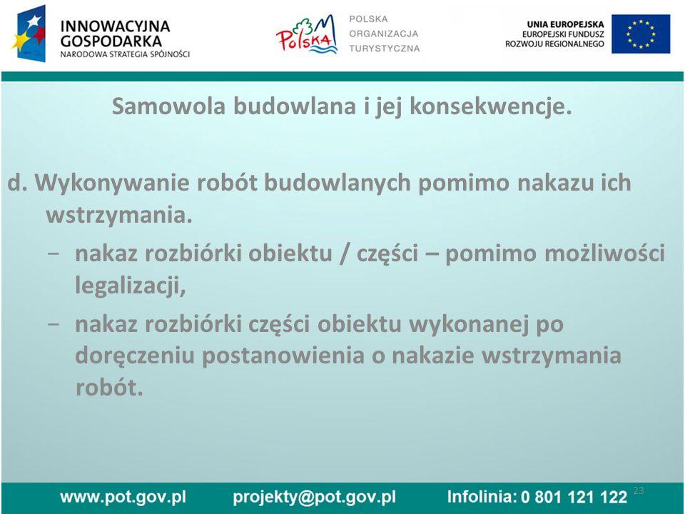 Samowola budowlana i jej konsekwencje. d.