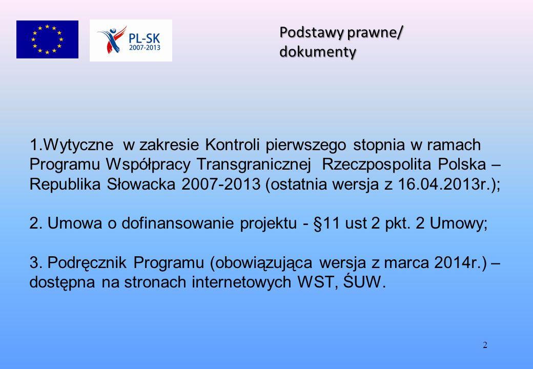2 1.Wytyczne w zakresie Kontroli pierwszego stopnia w ramach Programu Współpracy Transgranicznej Rzeczpospolita Polska – Republika Słowacka 2007-2013 (ostatnia wersja z 16.04.2013r.); 2.
