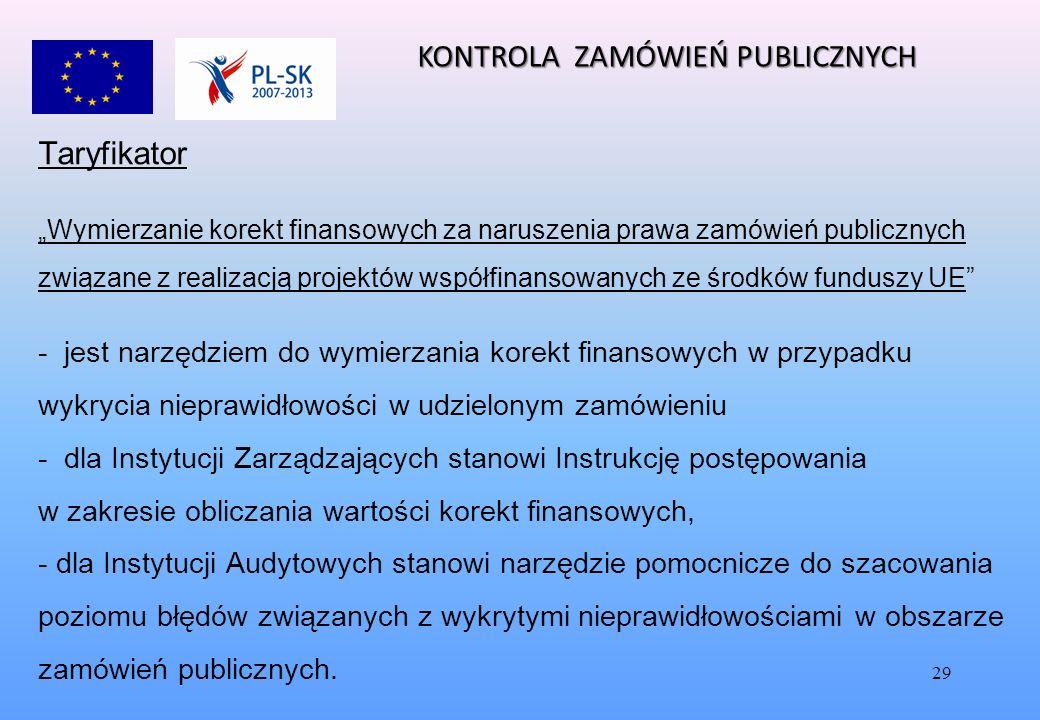 """29 Taryfikator """"Wymierzanie korekt finansowych za naruszenia prawa zamówień publicznych związane z realizacją projektów współfinansowanych ze środków funduszy UE - jest narzędziem do wymierzania korekt finansowych w przypadku wykrycia nieprawidłowości w udzielonym zamówieniu - dla Instytucji Zarządzających stanowi Instrukcję postępowania w zakresie obliczania wartości korekt finansowych, - dla Instytucji Audytowych stanowi narzędzie pomocnicze do szacowania poziomu błędów związanych z wykrytymi nieprawidłowościami w obszarze zamówień publicznych."""