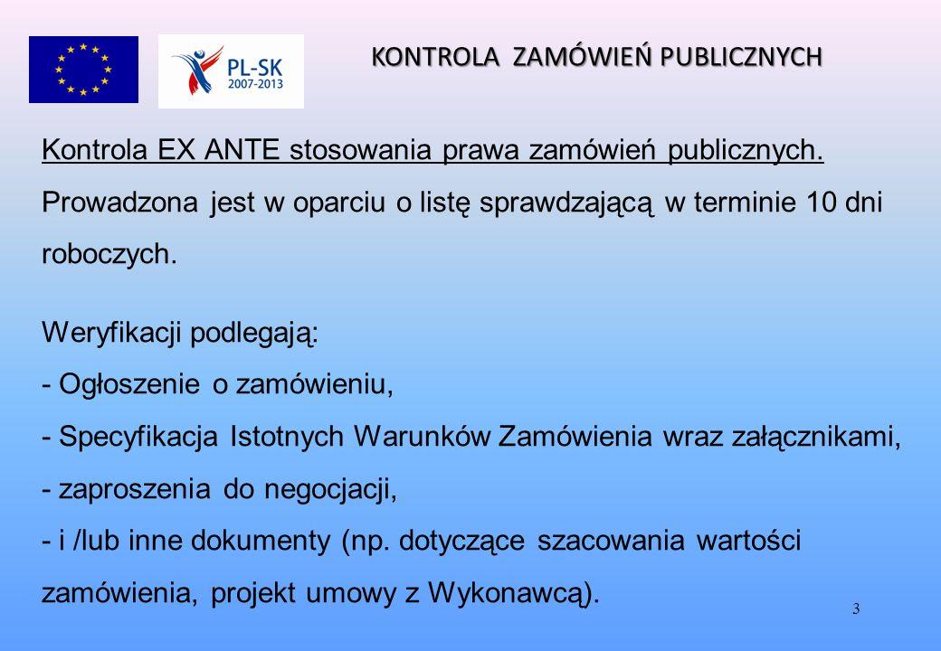 3 Kontrola EX ANTE stosowania prawa zamówień publicznych.