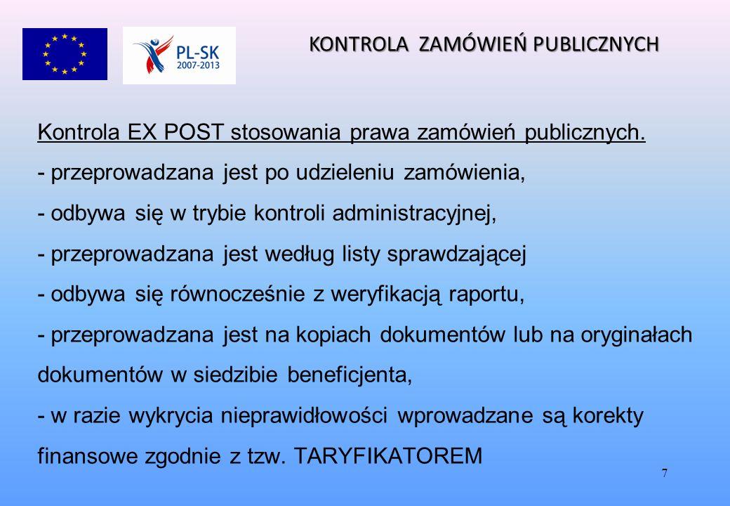 7 Kontrola EX POST stosowania prawa zamówień publicznych.