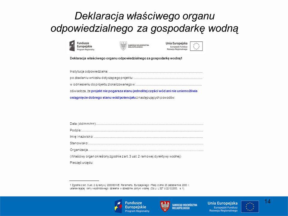 Deklaracja właściwego organu odpowiedzialnego za gospodarkę wodną Deklaracja właściwego organu odpowiedzialnego za gospodarkę wodną1 Instytucja odpowi