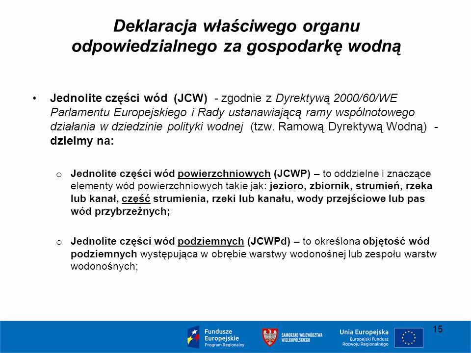 Deklaracja właściwego organu odpowiedzialnego za gospodarkę wodną Jednolite części wód (JCW) - zgodnie z Dyrektywą 2000/60/WE Parlamentu Europejskiego i Rady ustanawiającą ramy wspólnotowego działania w dziedzinie polityki wodnej (tzw.