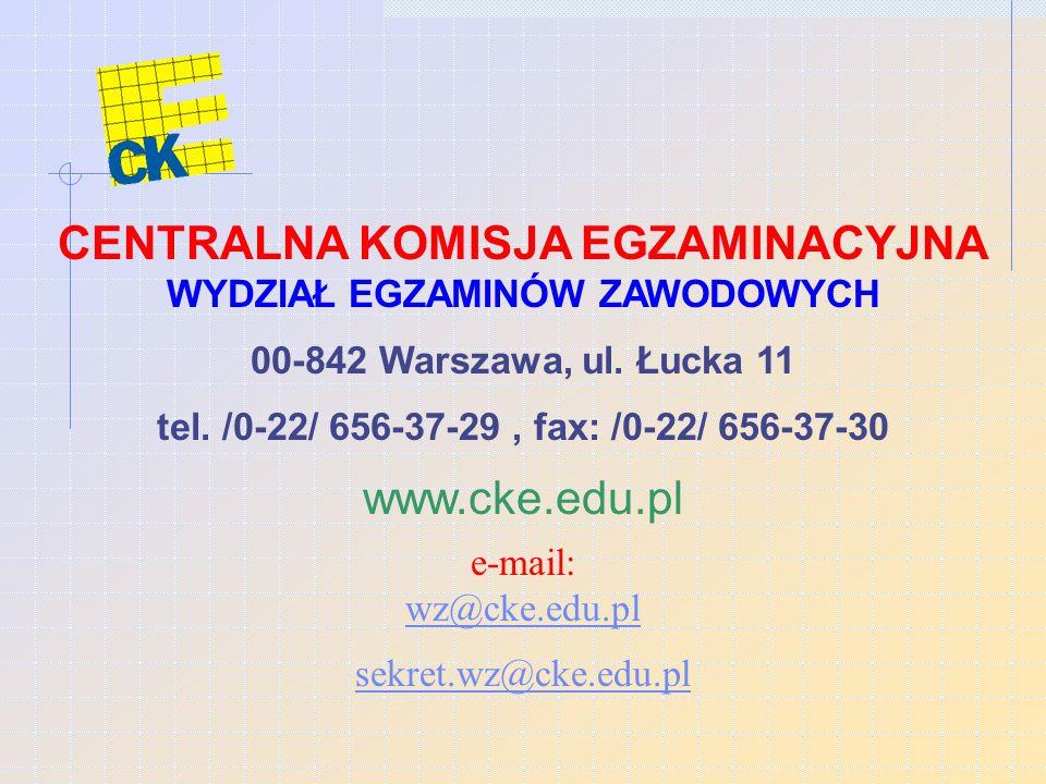 CENTRALNA KOMISJA EGZAMINACYJNA WYDZIAŁ EGZAMINÓW ZAWODOWYCH 00-842 Warszawa, ul.