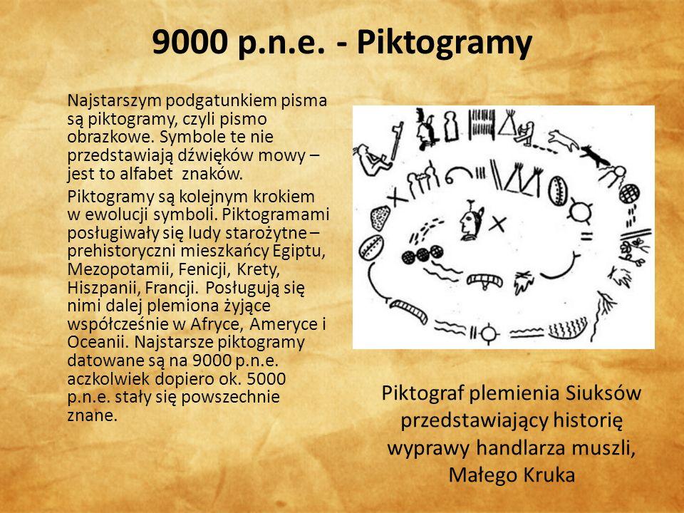 9000 p.n.e. - Piktogramy Najstarszym podgatunkiem pisma są piktogramy, czyli pismo obrazkowe.