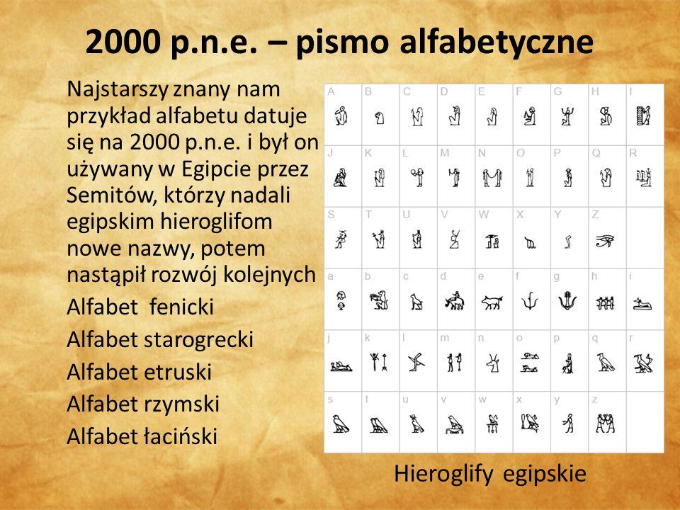 2000 p.n.e. – pismo alfabetyczne Najstarszy znany nam przykład alfabetu datuje się na 2000 p.n.e.