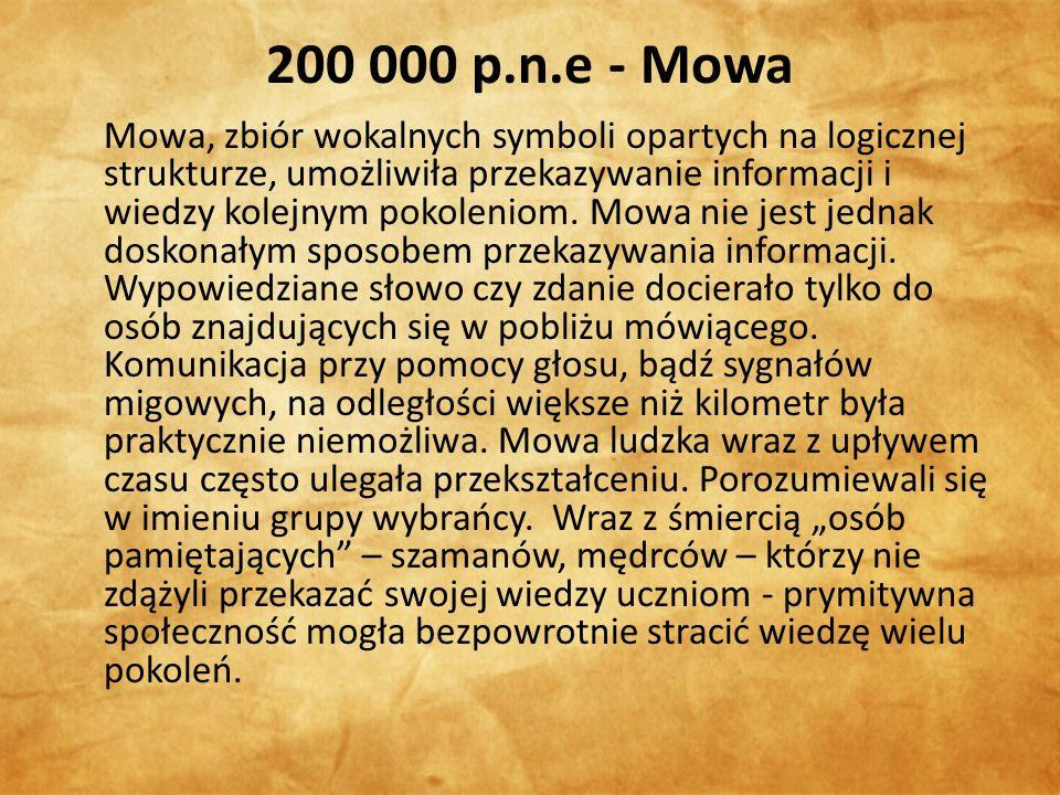 200 000 p.n.e - Mowa Mowa, zbiór wokalnych symboli opartych na logicznej strukturze, umożliwiła przekazywanie informacji i wiedzy kolejnym pokoleniom.