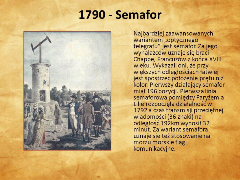"""1790 - Semafor Najbardziej zaawansowanych wariantem """"optycznego telegrafu jest semafor."""