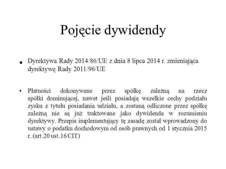 Pojęcie dywidendy Dyrektywa Rady 2014/86/UE z dnia 8 lipca 2014 r.
