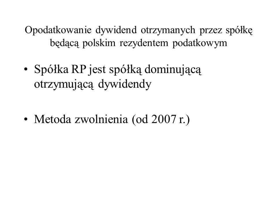 Opodatkowanie dywidend otrzymanych przez spółkę będącą polskim rezydentem podatkowym Spółka RP jest spółką dominującą otrzymującą dywidendy Metoda zwolnienia (od 2007 r.)