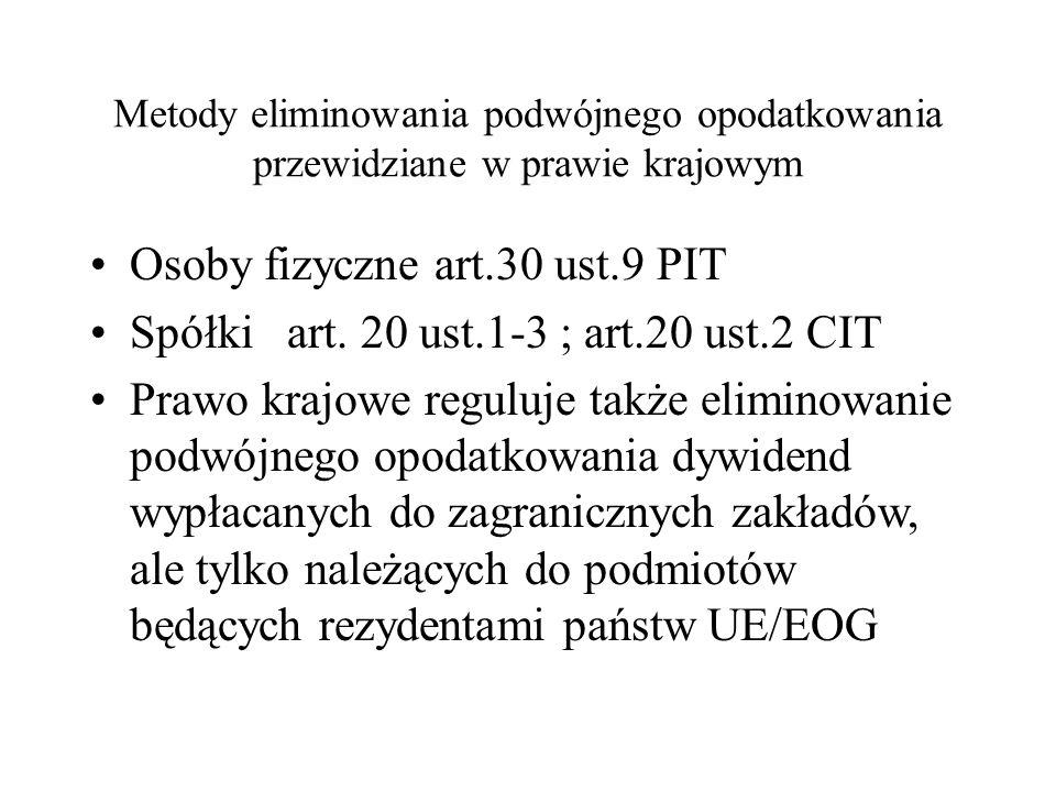 Metody eliminowania podwójnego opodatkowania przewidziane w prawie krajowym Osoby fizyczne art.30 ust.9 PIT Spółki art.